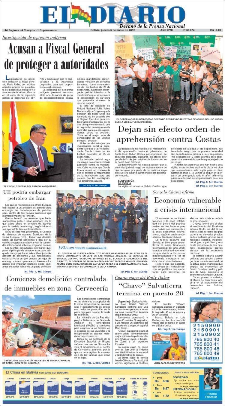 Peri Dico Noticias El Diario Bolivia Peri Dicos De