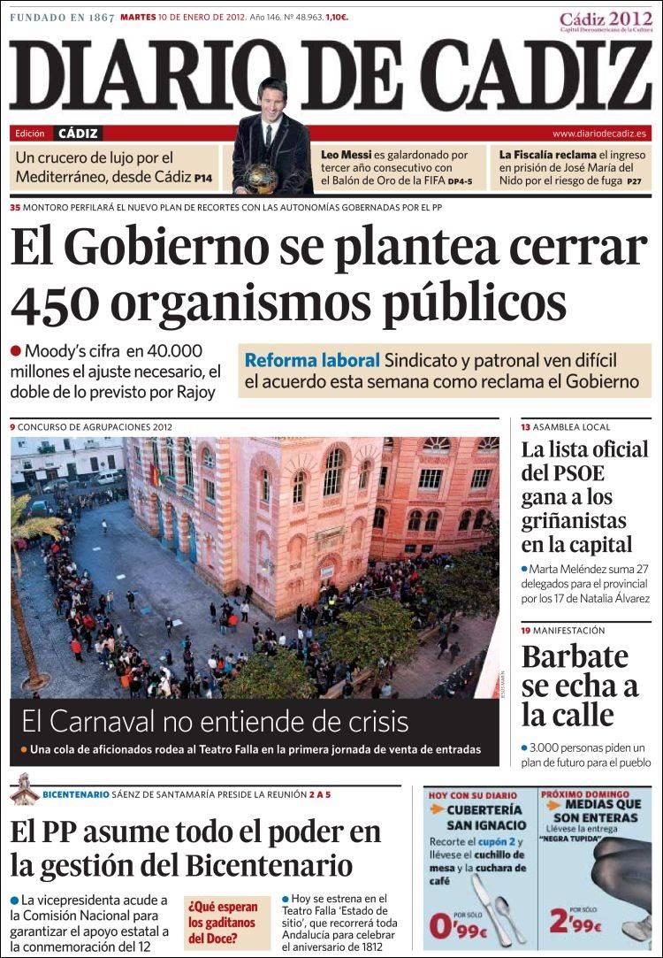 223fde0160c1 Periódico Diario de Cádiz (España). Periódicos de España. Edición de ...