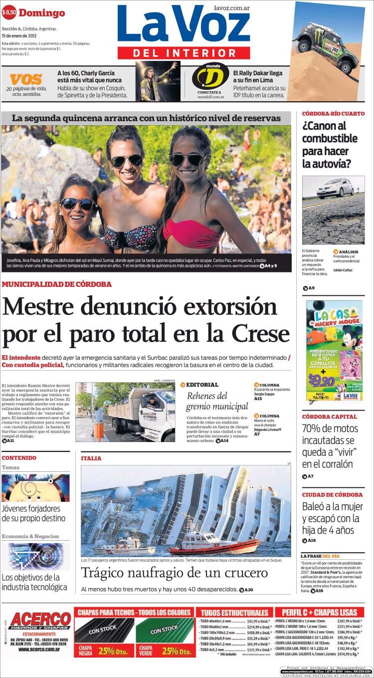 Peri dico la voz del interior argentina peri dicos de argentina edici n de domingo 15 de - La voz del interior ...