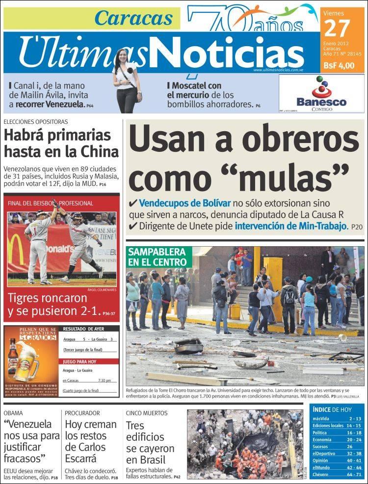 Periódicos de Venezuela. Toda la prensa de hoy. verum-index.com