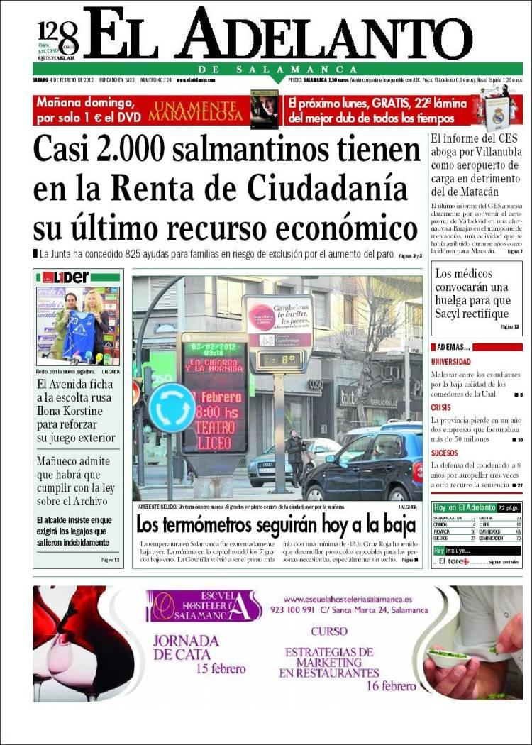 Periódico El Adelanto de Salamanca (España). Periódicos de ...
