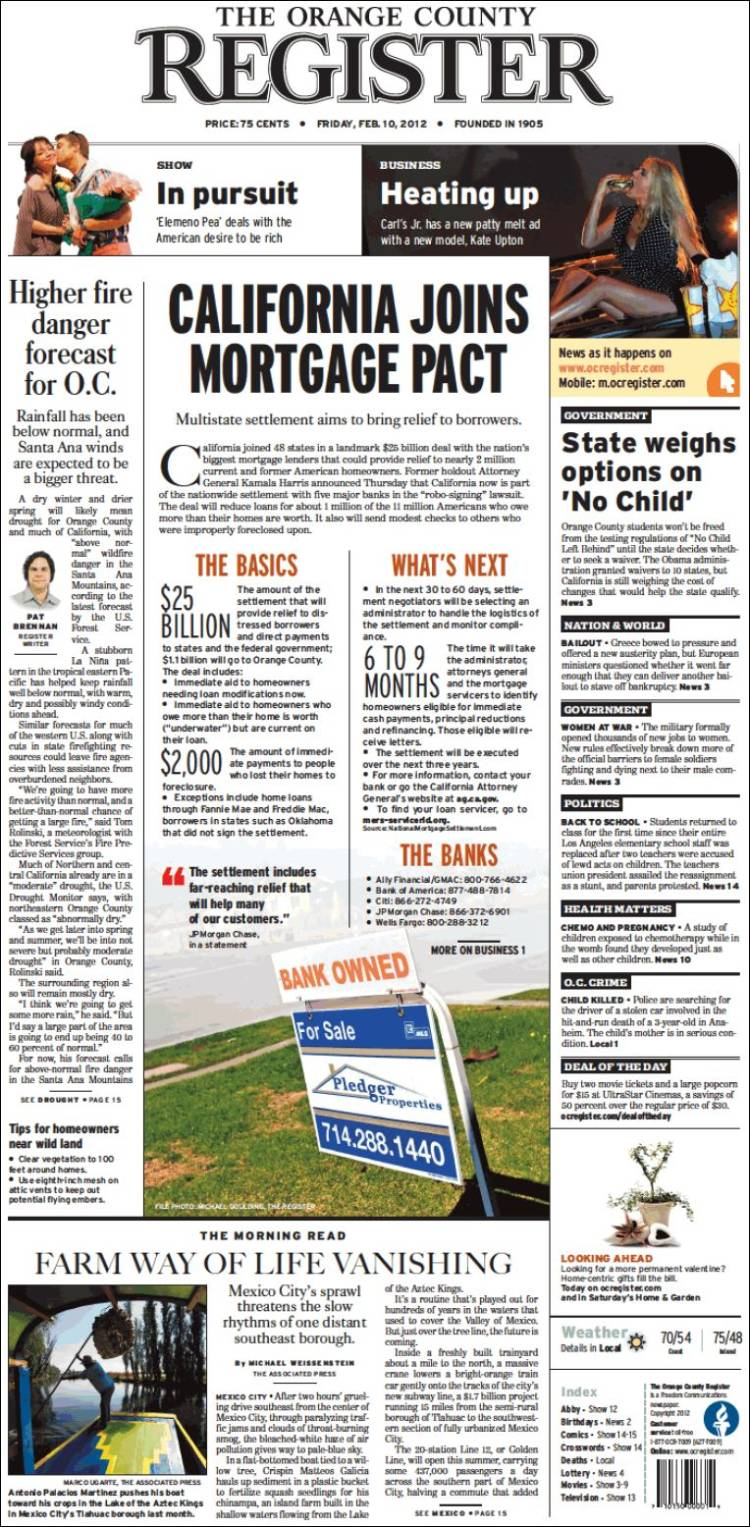 Newspaper the orange county register usa newspapers in usa friday