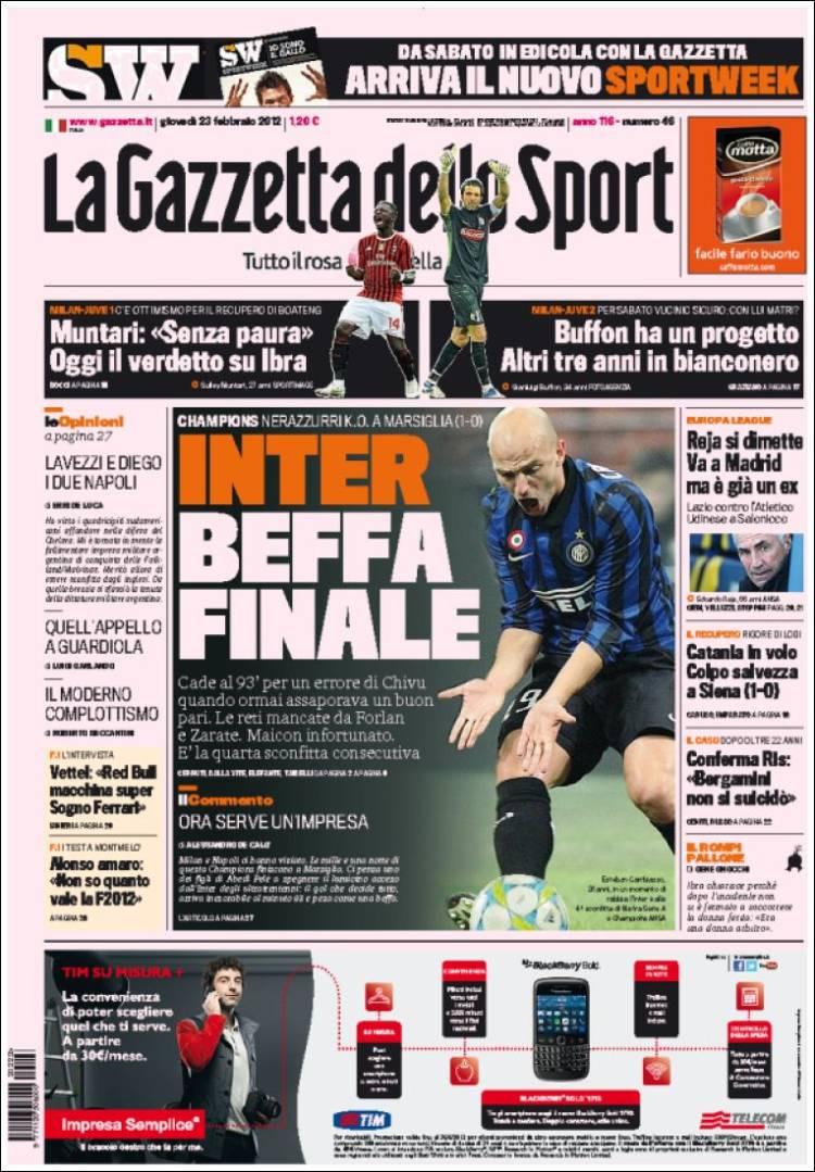 newspaper la gazzetta dello sport italy newspapers in italy thursday 39 s edition february 23. Black Bedroom Furniture Sets. Home Design Ideas