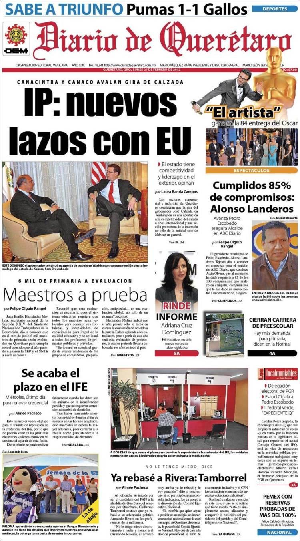 Periódico Diario De Querétaro México Periódicos De México