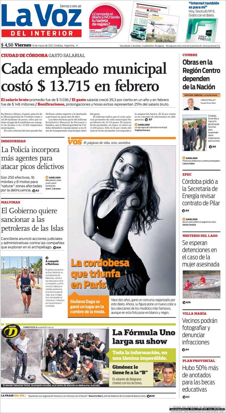 Peri dico la voz del interior argentina peri dicos de argentina edici n de viernes 16 de - La voz del interior ...