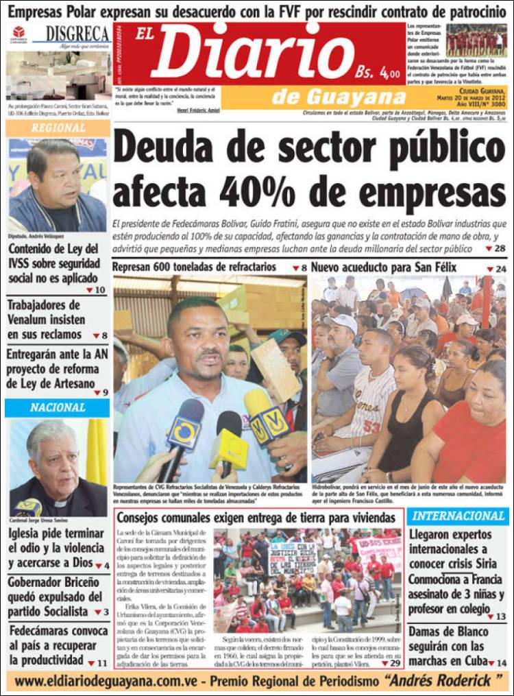 Periódico El Diario de Guayana (Venezuela). Periódicos de Venezuela ...