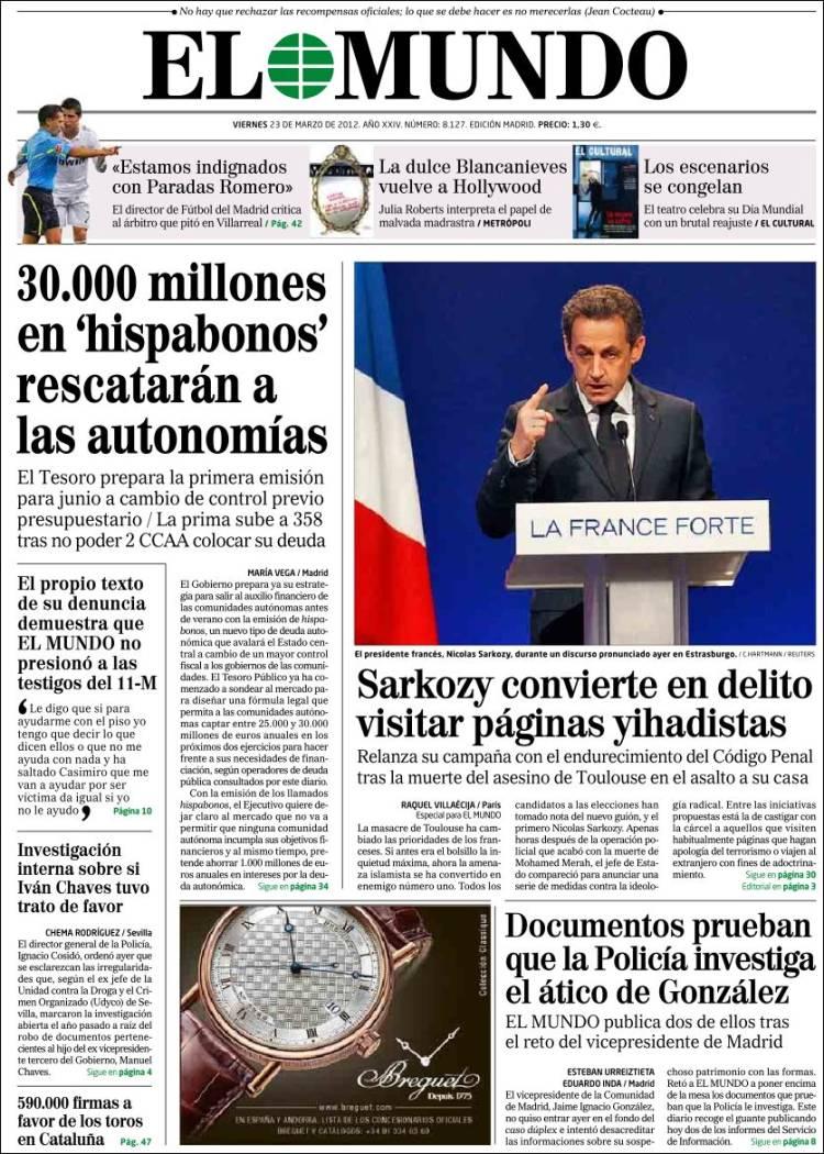 Peri dico el mundo espa a peri dicos de espa a edici n de viernes 23 de marzo de 2012 - Puerta de madrid periodico ...