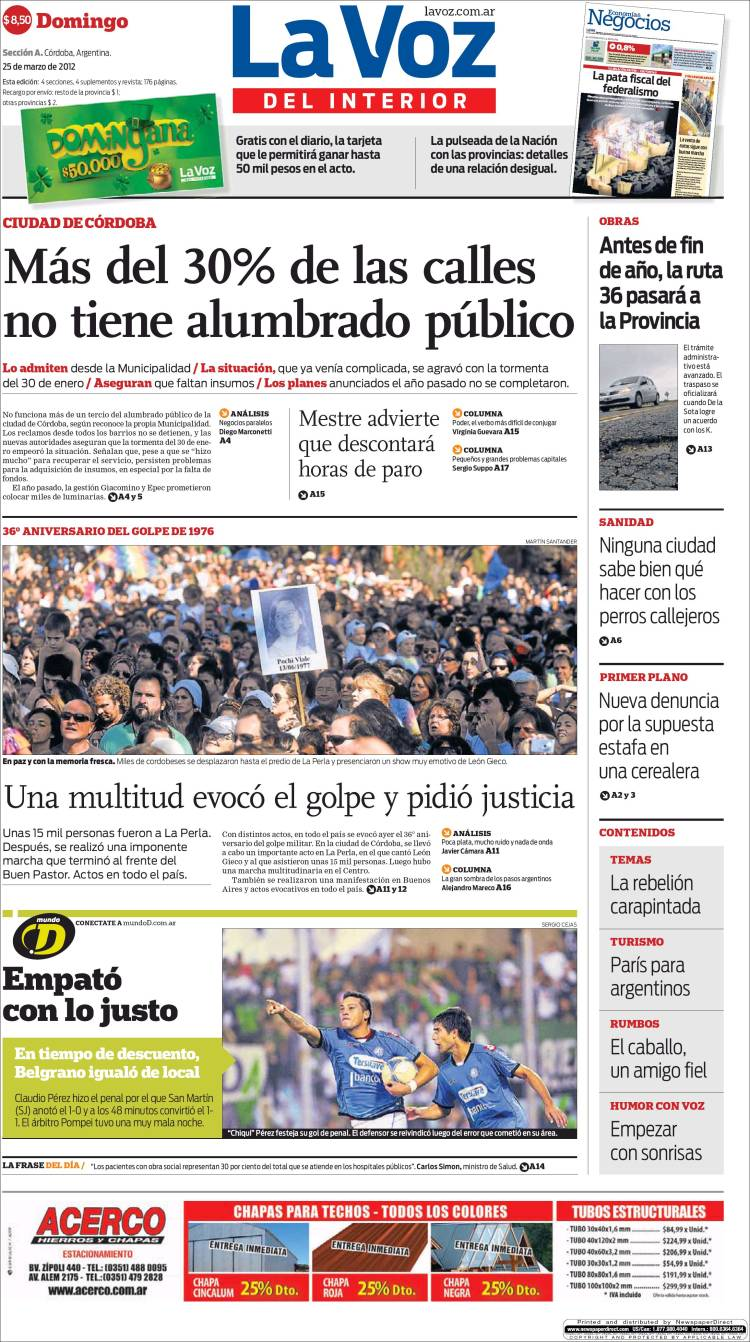 Peri dico la voz del interior argentina peri dicos de argentina edici n de domingo 25 de - La voz del interior ...