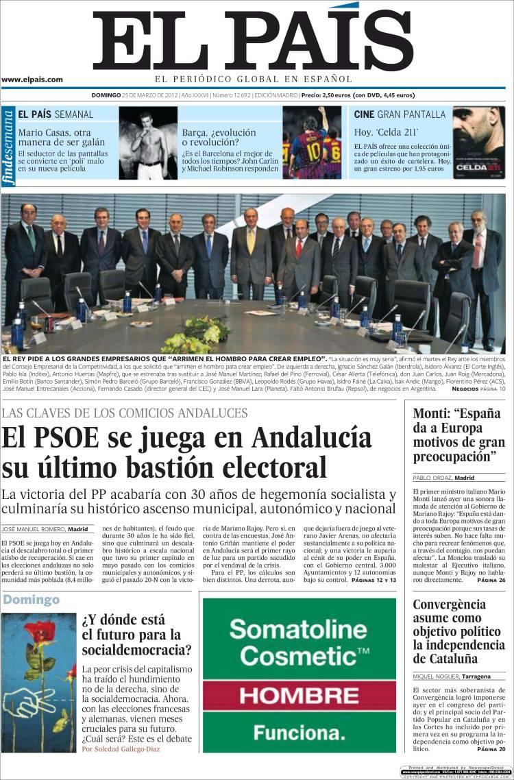 Peri dico el pa s espa a peri dicos de espa a edici n de domingo 25 de marzo de 2012 - Puerta de madrid periodico ...