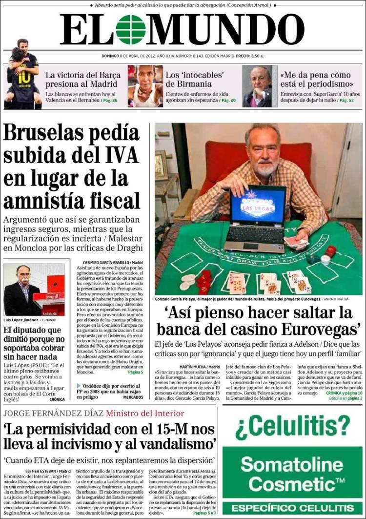 Peri dico el mundo espa a peri dicos de espa a edici n de domingo 8 de abril de 2012 - Puerta de madrid periodico ...