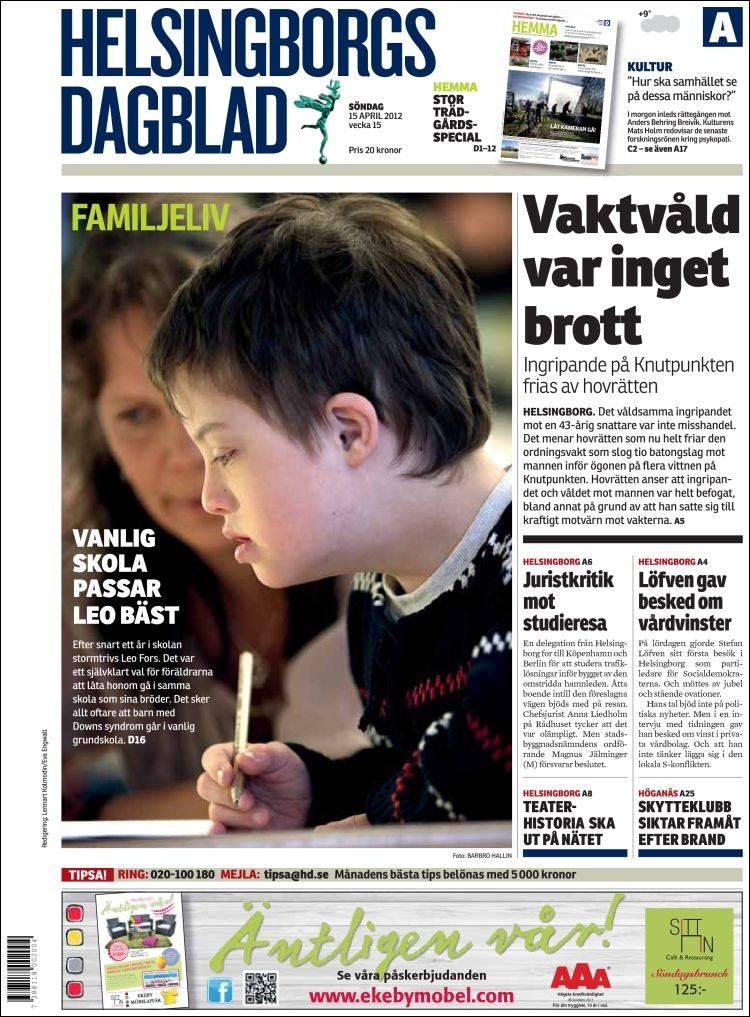 Portada de Helsingborgs Dagblad (Suède)
