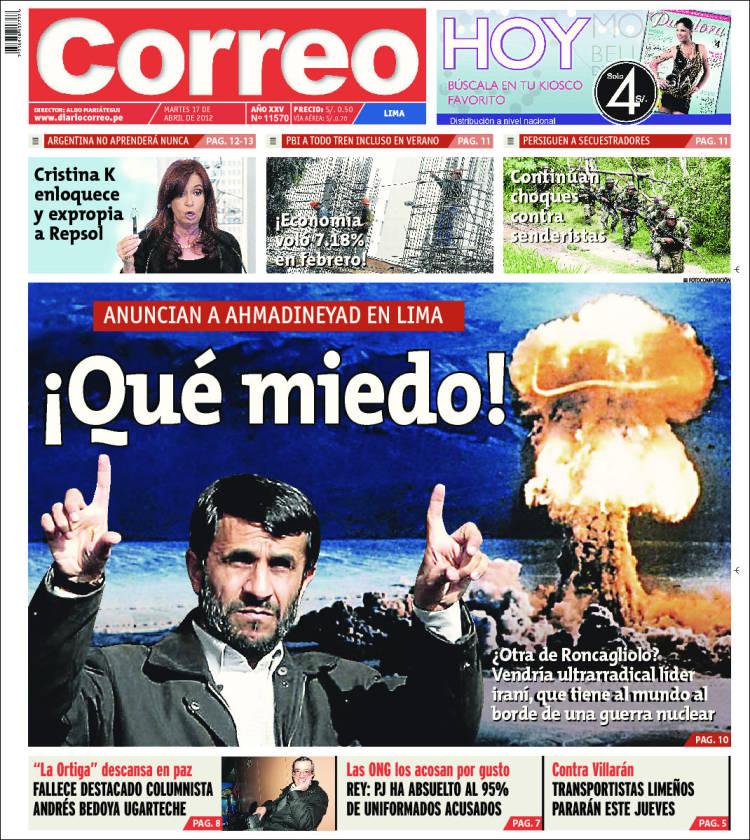 Vea las portadas de los principales diarios peruanos para for Noticias del espectaculo del dia de hoy argentina