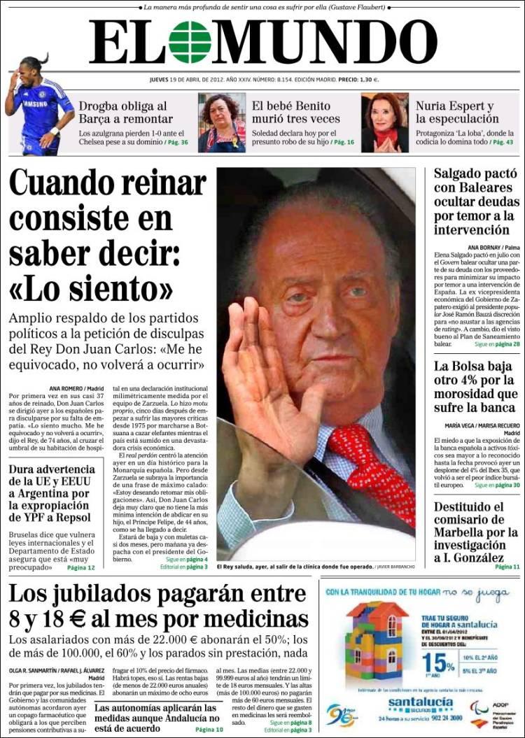 Peri dico el mundo espa a peri dicos de espa a edici n de jueves 19 de abril de 2012 - Puerta de madrid periodico ...