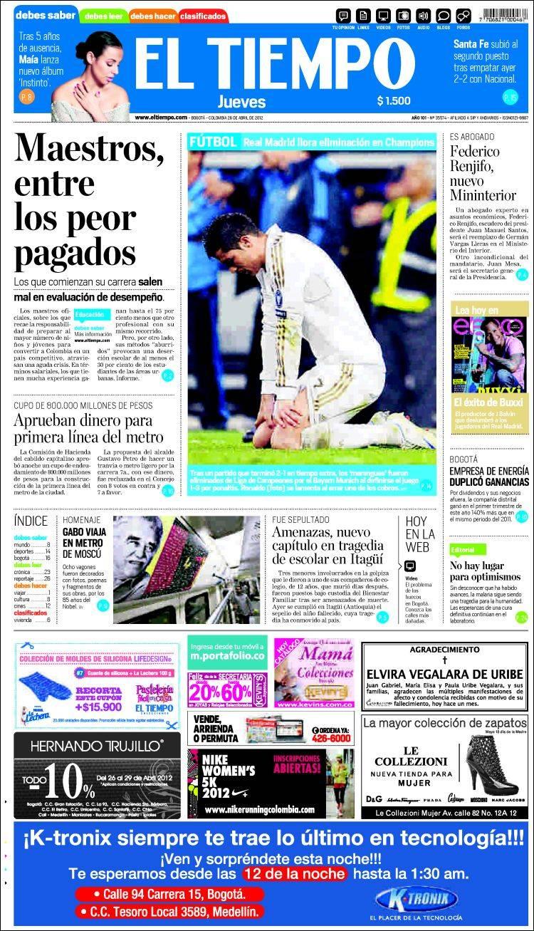 peri dico el tiempo colombia peri dicos de colombia On noticias dela farandula argentina del dia de hoy