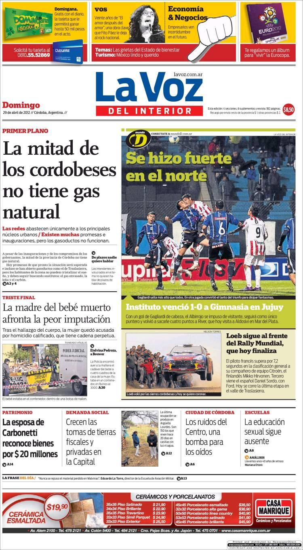 Peri dico la voz del interior argentina peri dicos de argentina edici n de domingo 29 de - La voz del interior ...