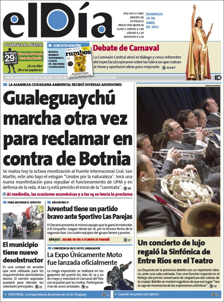 Portada de El Día de Gualeguaychú (Argentina)