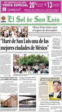 Portada de El Sol de San Luis (México)