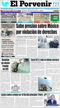 Portada de El Porvenir de Monterrey (México)