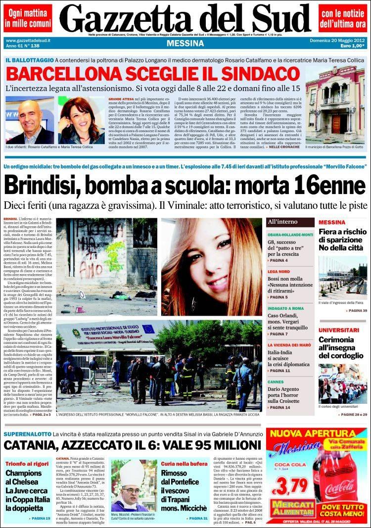 Portada De Gazzetta Del Sud Italy
