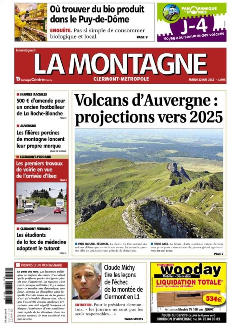 Journal la montagne france les unes des journaux de france dition du mar - Journal la montagne 15 ...