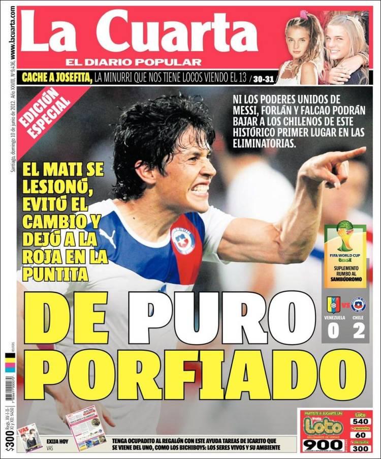 Periódico La Cuarta (Chile). Periódicos de Chile. Edición de lunes ...