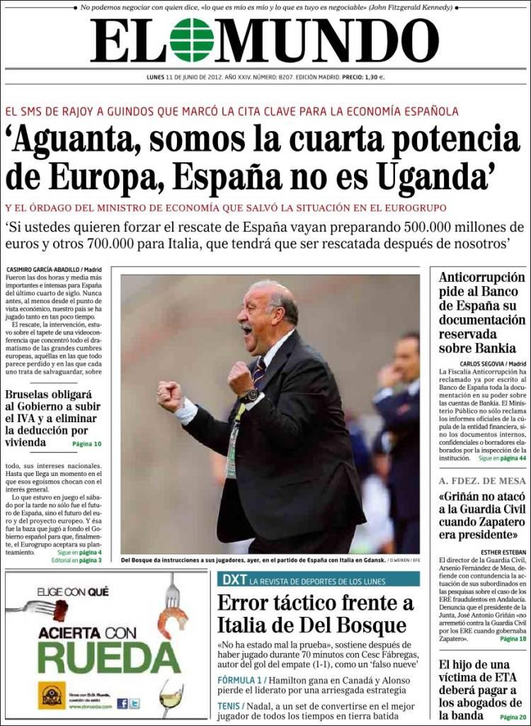 Journal el mundo espagne les unes des journaux de espagne dition du lund - Nom de journal espagnol ...