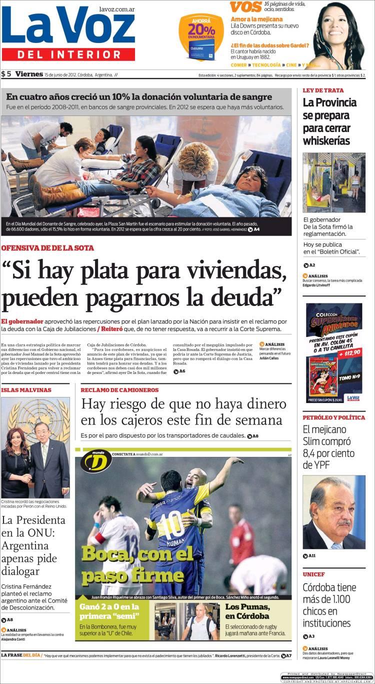 Tapas principales diarios argentinos 15 06 2012 taringa - La voz del interior ...