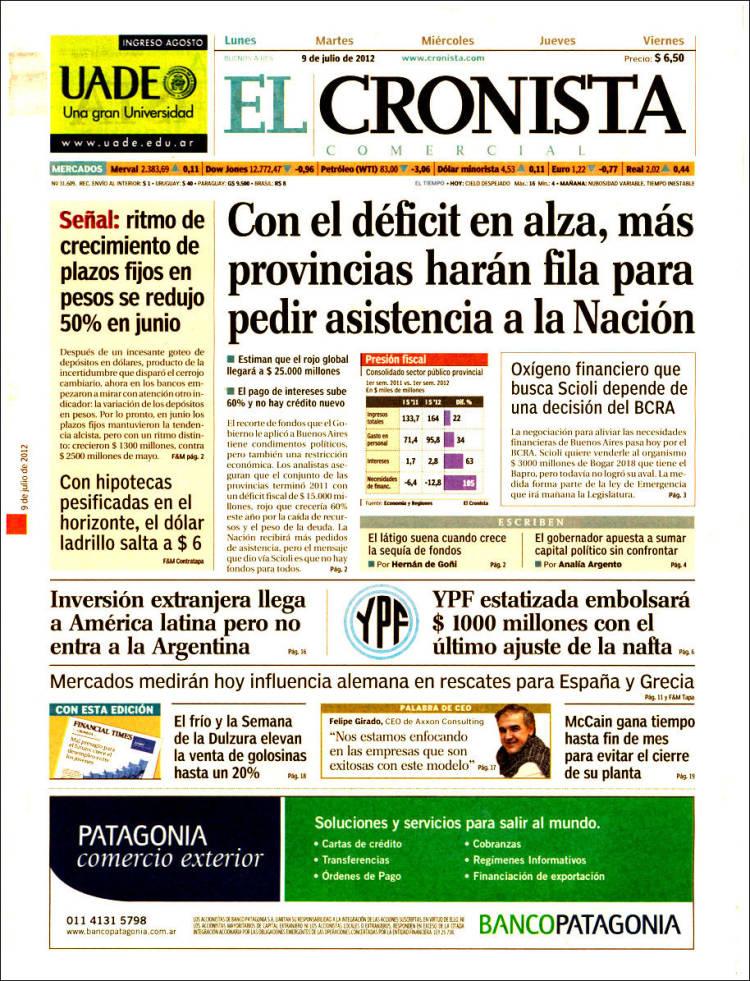 Portada de El Cronista Comercial (Argentina)