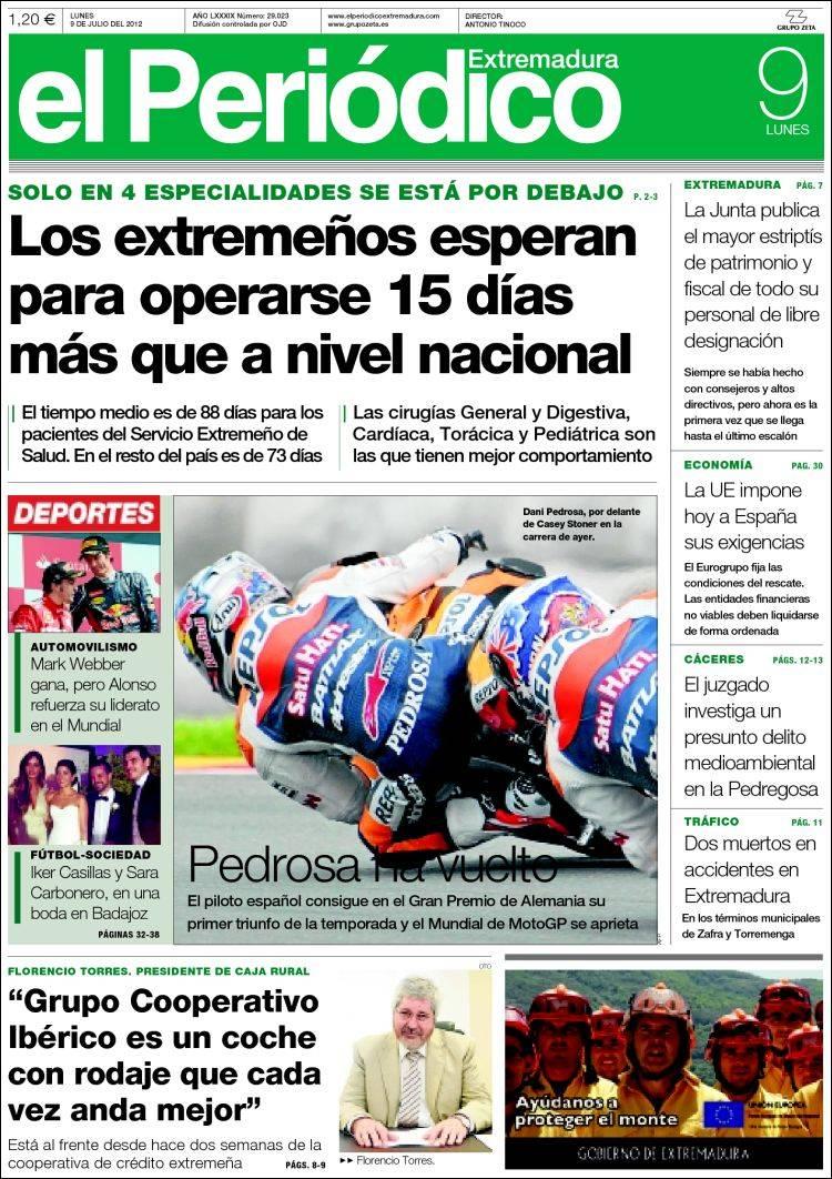 Portada de El Periódico de Estremadura (España)
