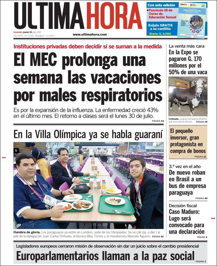 Newspaper Última Hora (Paraguay). Newspapers in Paraguay. Thursday\'s ...