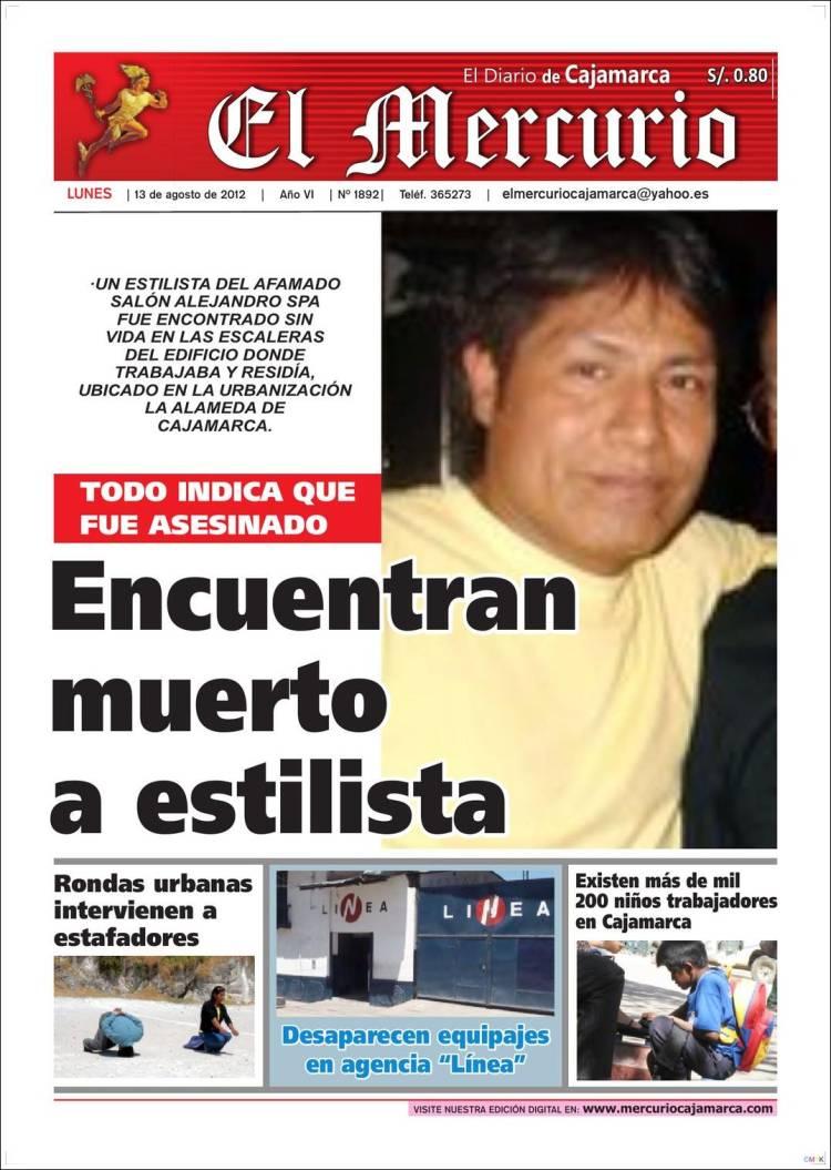 Portada de El Mercurio de Cajamarca (Peru)