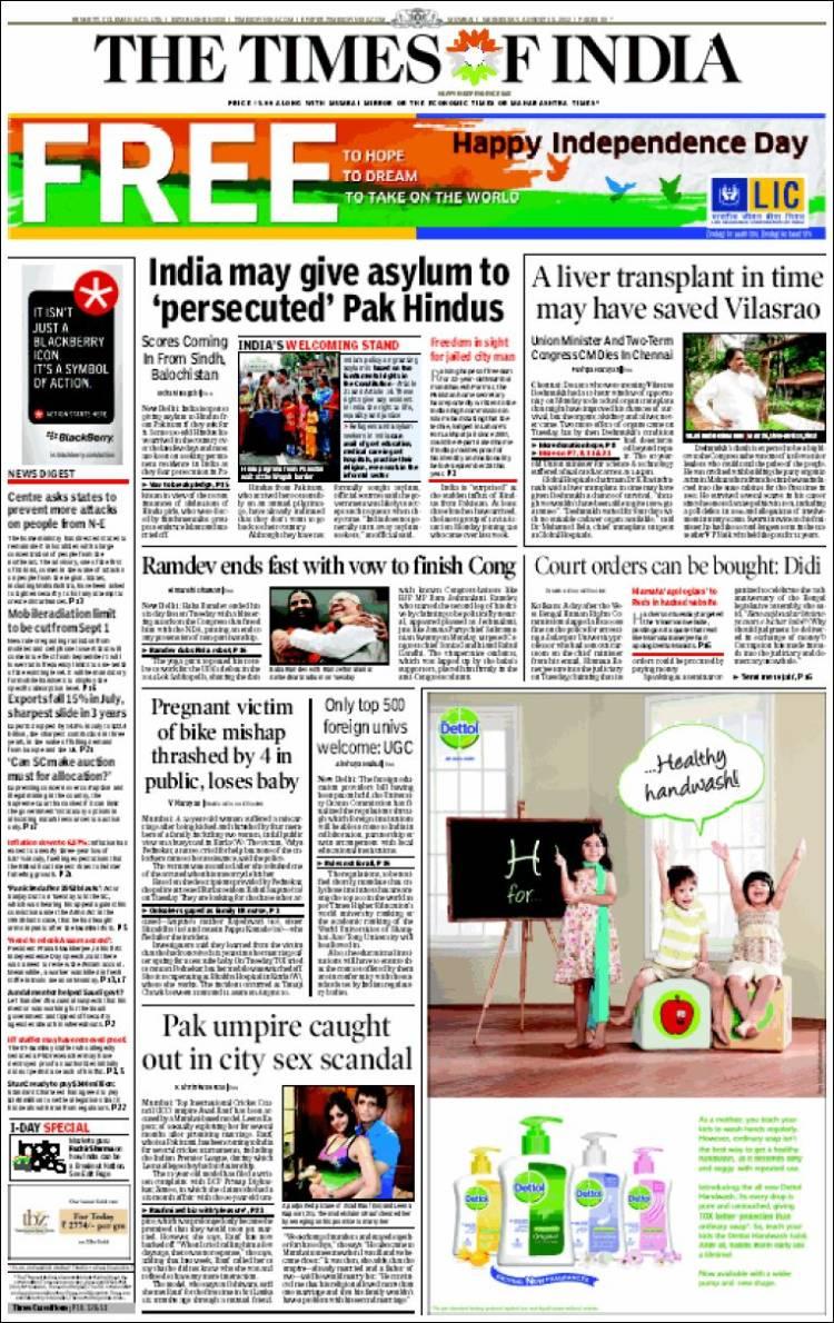 Portada de The Times of India (India)