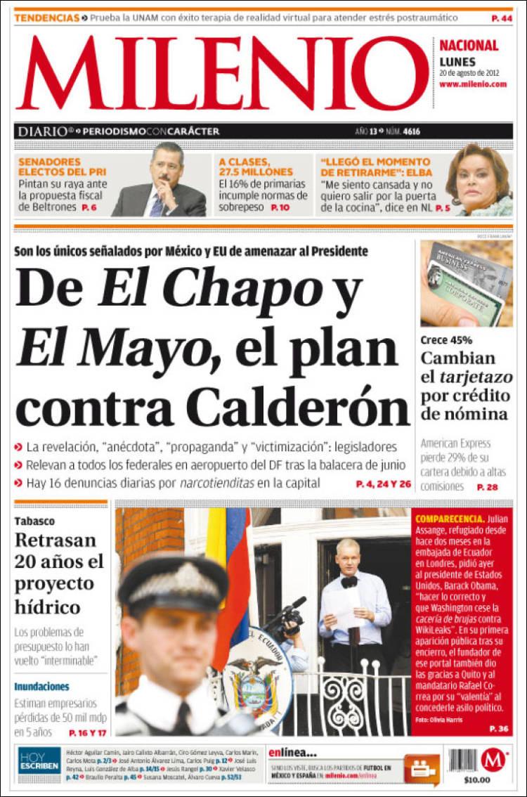 Peri dico milenio m xico peri dicos de m xico edici n de lunes 20 de agosto de 2012 - Puerta de madrid periodico ...