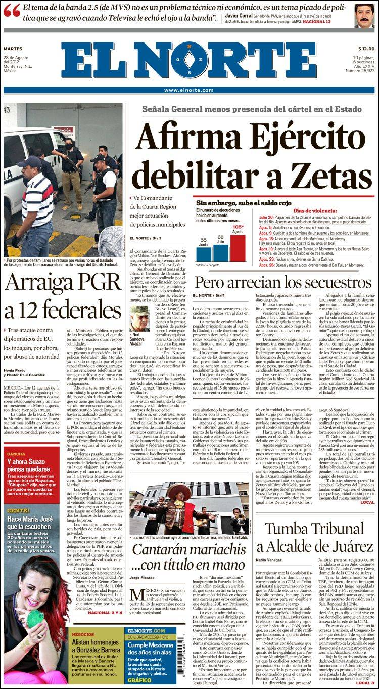 f082daa541 Periódico El Norte (México). Periódicos de México. Edición de martes ...