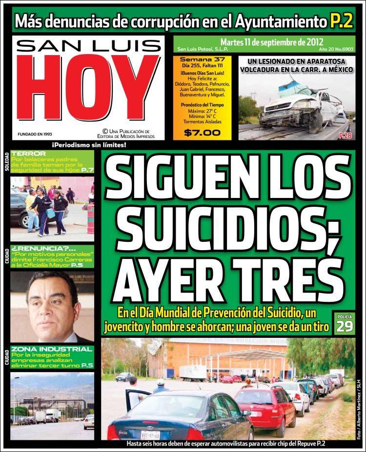 San Luis Hoy (México). Periódicos de México. Edición de martes ...