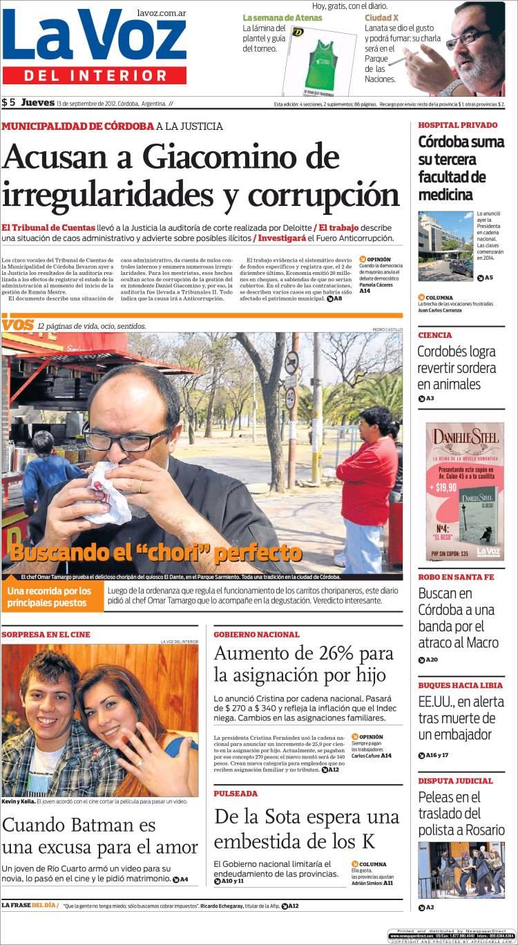 Peri dico la voz del interior argentina peri dicos de argentina edici n de jueves 13 de - La voz del interior ...