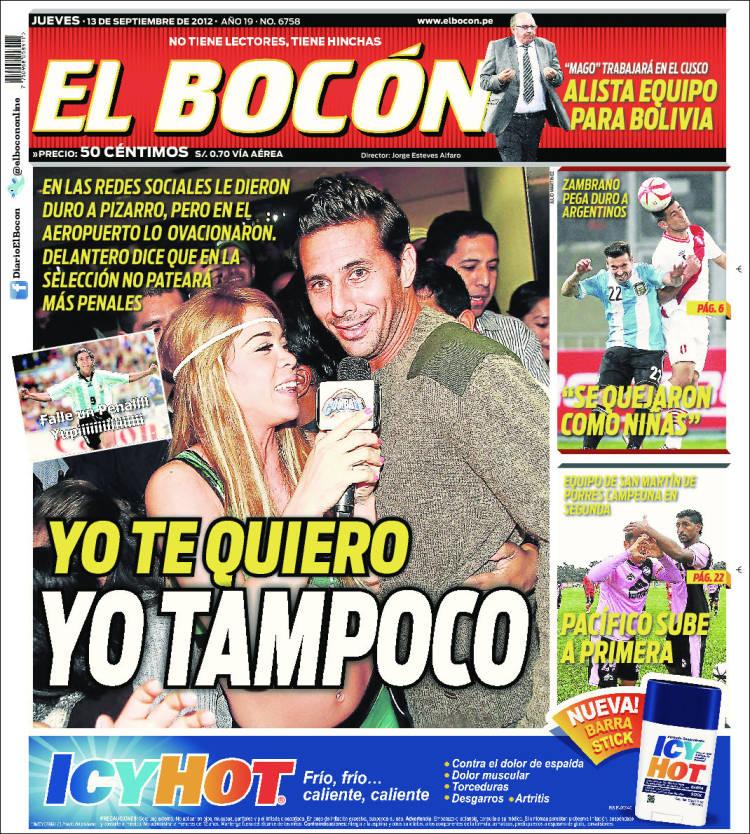 Periódico El Bocón Perú Periódicos De Perú Edición De Jueves 13