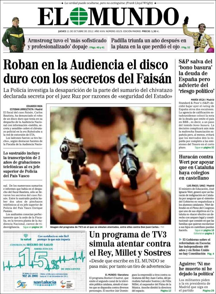 Peri dico el mundo espa a peri dicos de espa a edici n de jueves 11 de octubre de 2012 - Puerta de madrid periodico ...