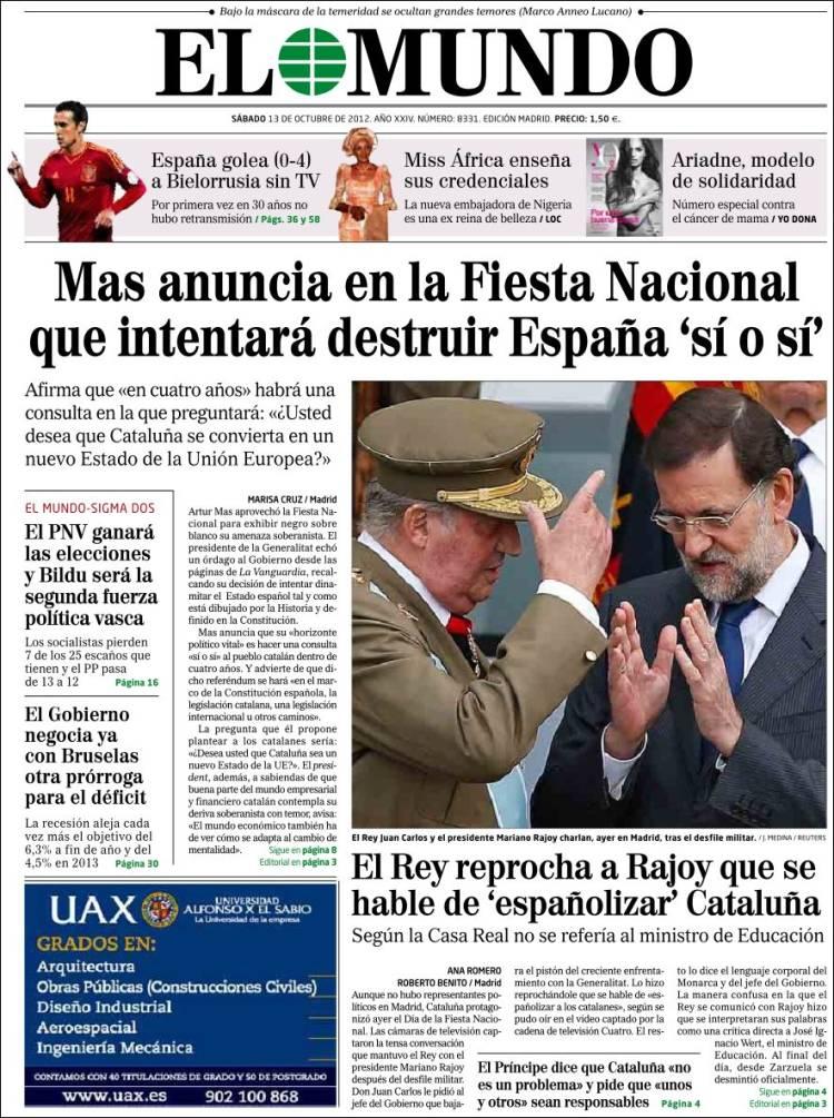 Peri dico el mundo espa a peri dicos de espa a edici n de s bado 13 de octubre de 2012 - Puerta de madrid periodico ...