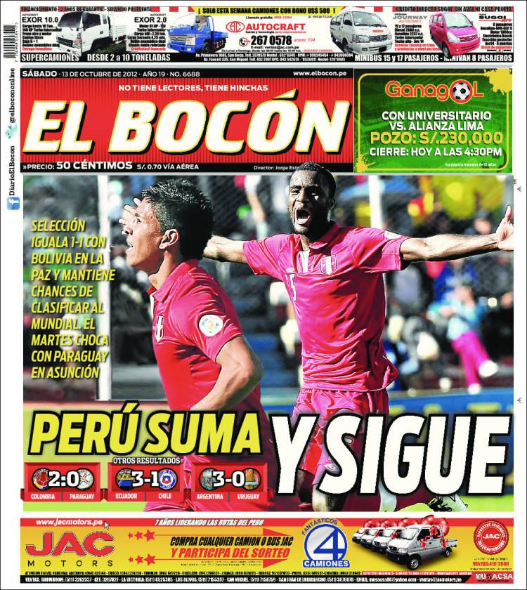 Periódico El Bocón Perú Periódicos De Perú Edición De Sábado 13