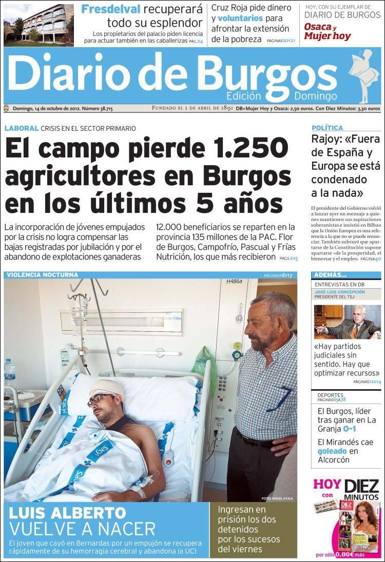 Peri dico diario de burgos espa a peri dicos de espa a edici n de domingo 14 de octubre de - Puerta de madrid periodico ...