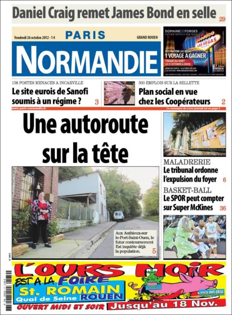 Journal paris normandie france les unes des journaux de france dition du - Journal de normandie ...