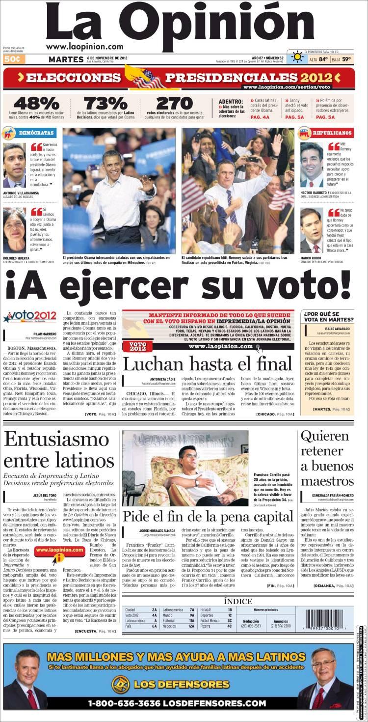 penser en espagnol penser tout court el diario la opini n anuncia su apoyo a obama. Black Bedroom Furniture Sets. Home Design Ideas