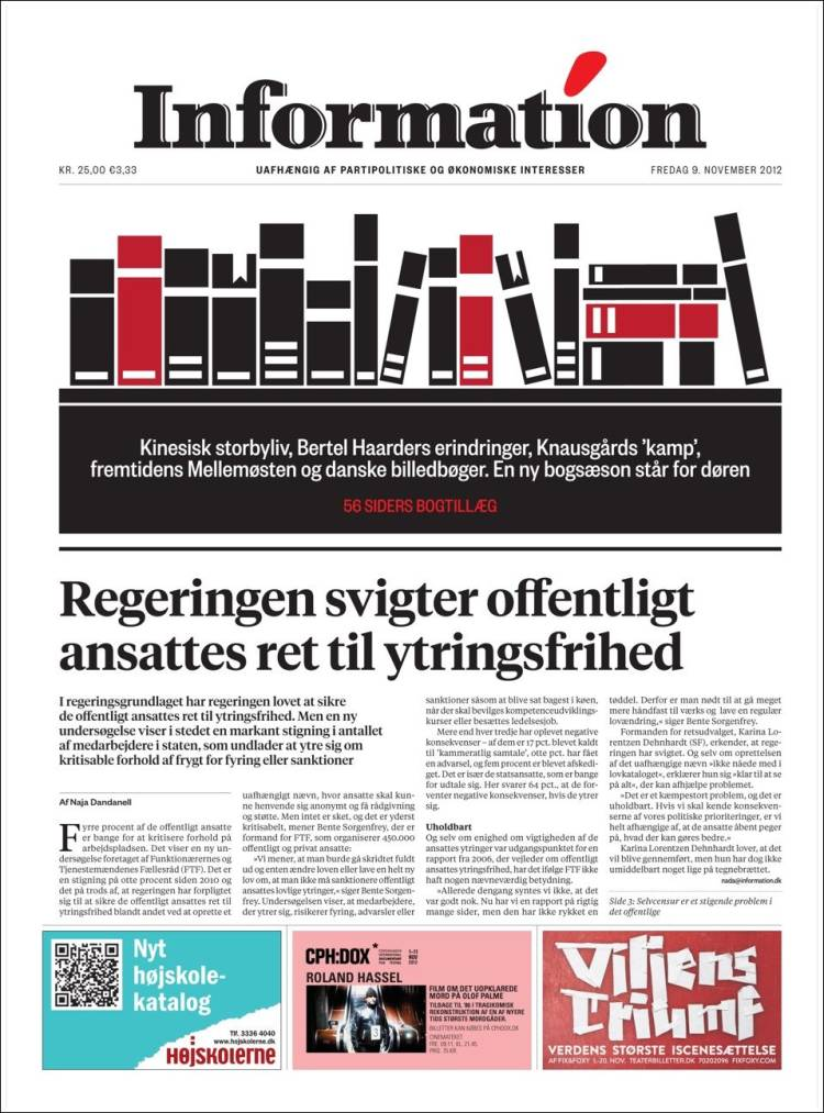 Portada de Dagbladet Information (Dinamarca)