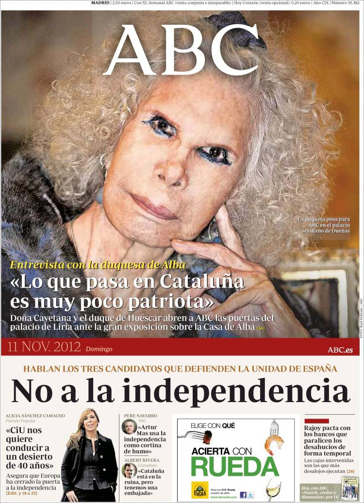 Peri dico abc espa a peri dicos de espa a edici n de domingo 11 de noviembre de 2012 - Puerta de madrid periodico ...