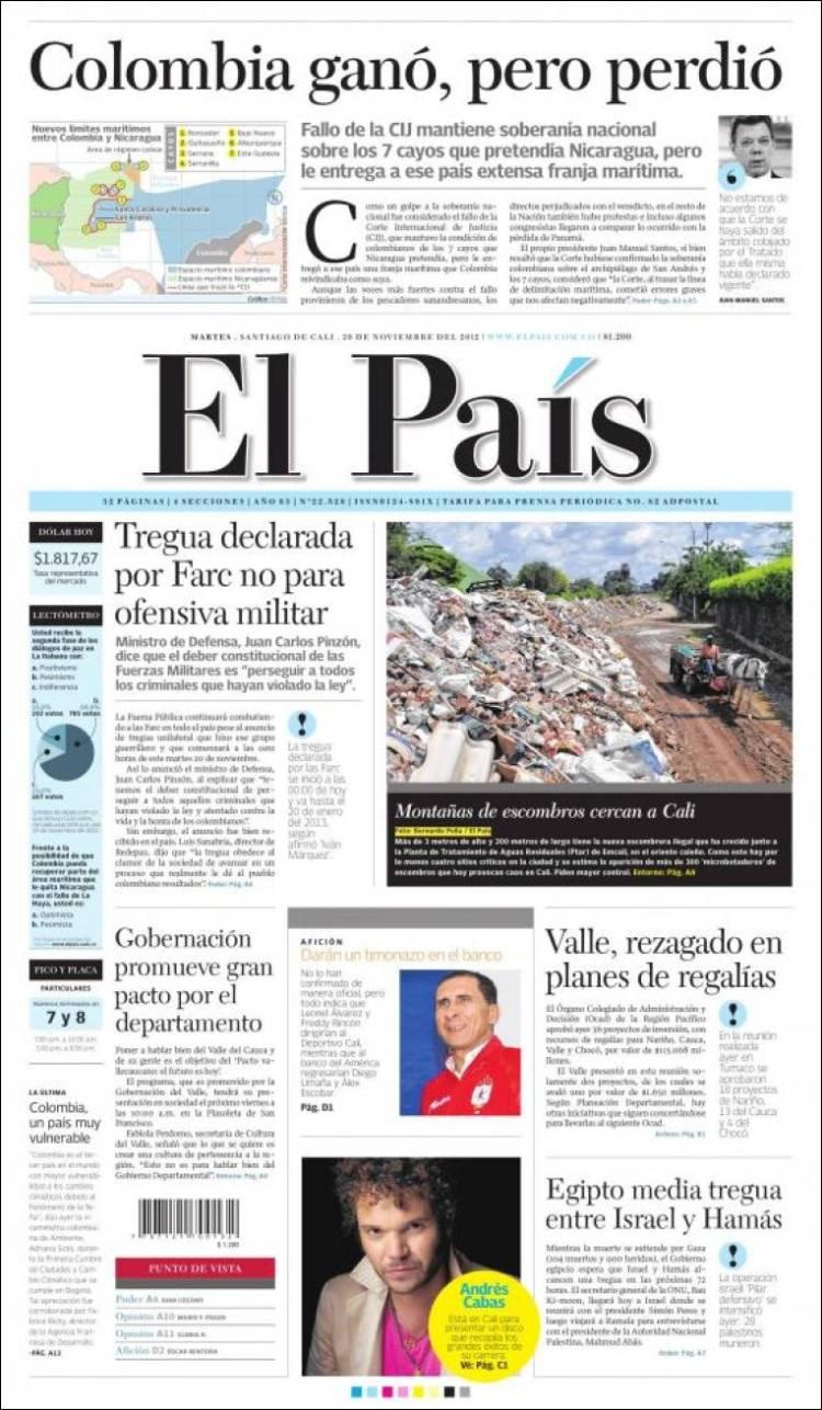 Portada de El País - Cali (Colombia)