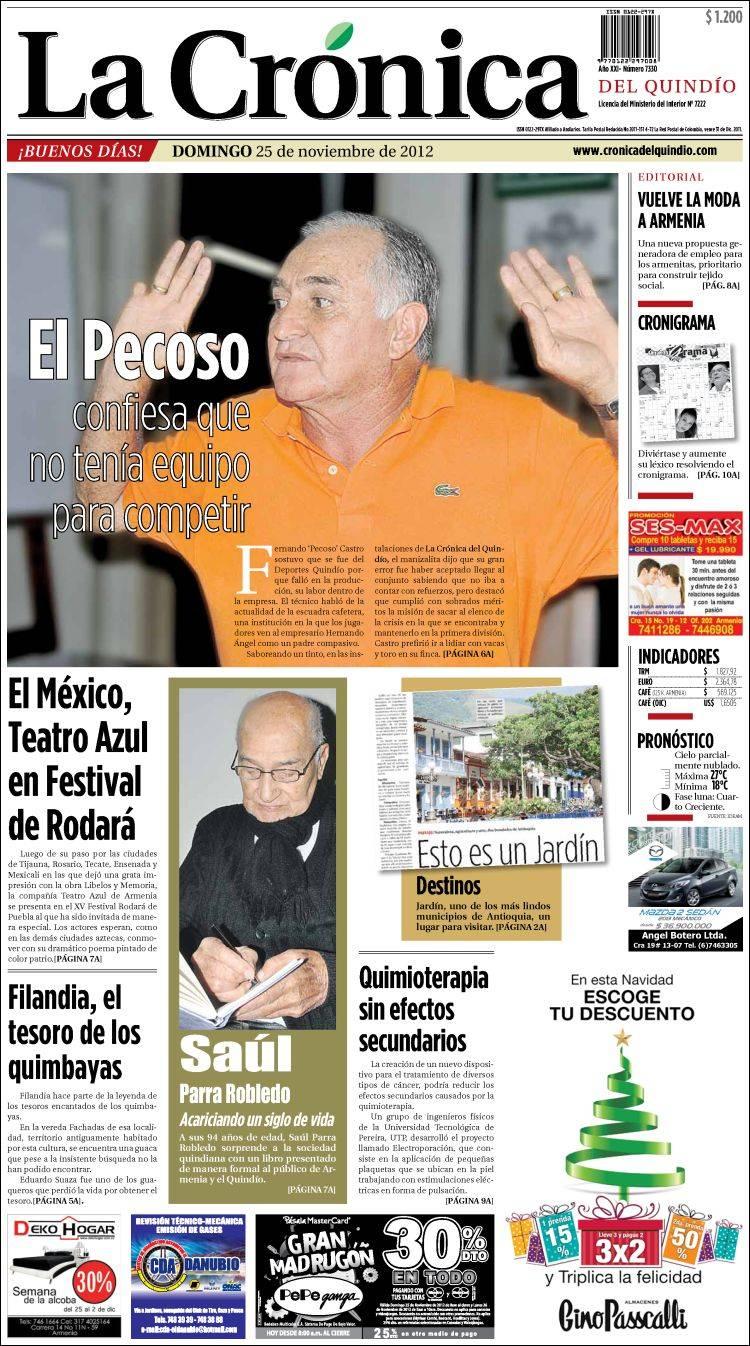 Portada de La Crónica del Quindío (Colombia)