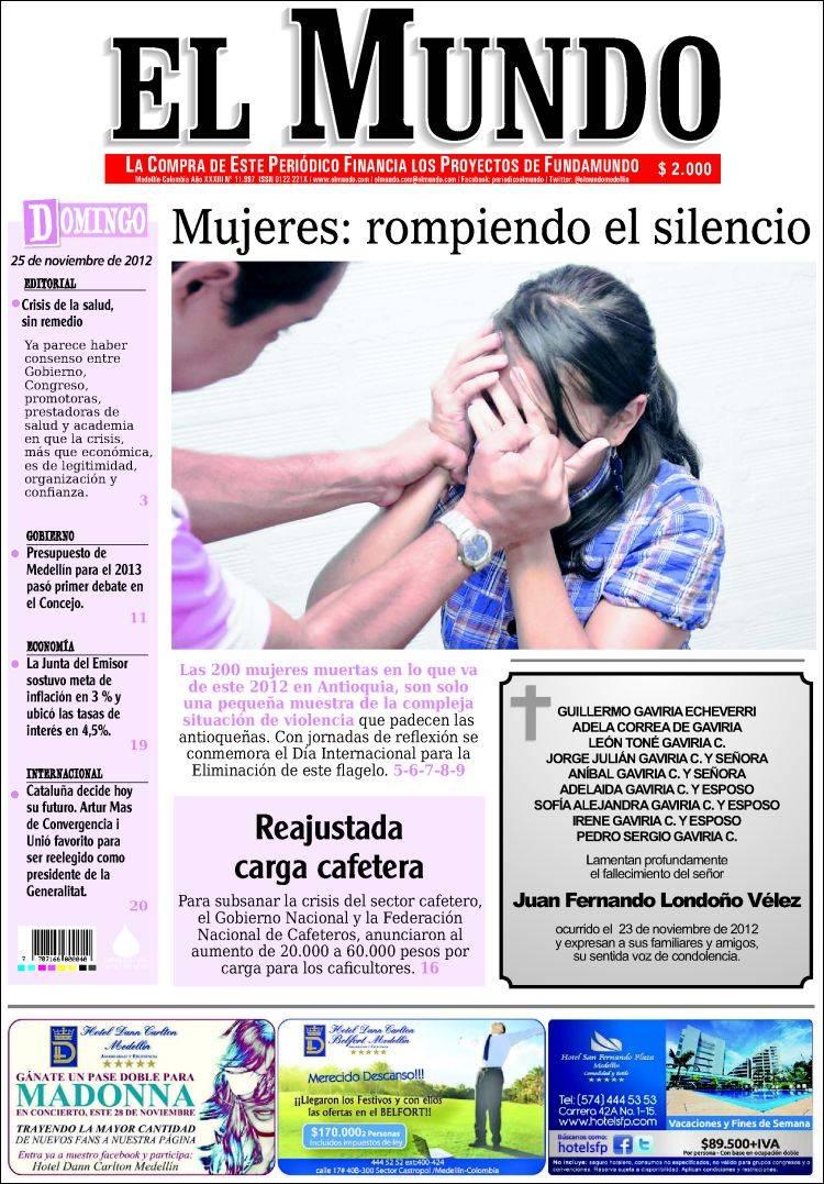 Portada de El Mundo (Colombia)