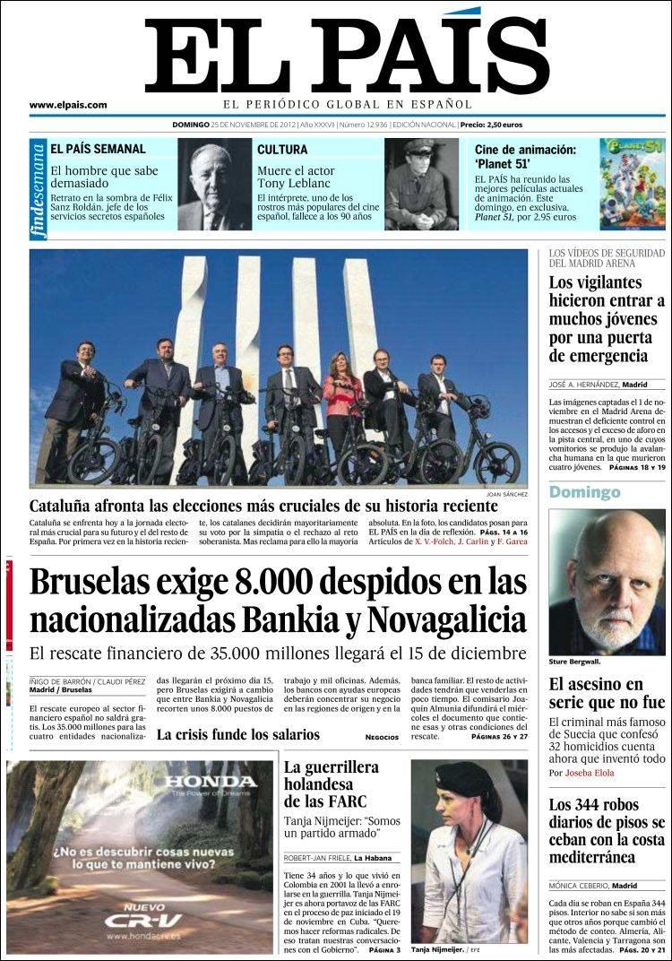 Peri dico el pa s espa a peri dicos de espa a edici n de domingo 25 de noviembre de 2012 - Puerta de madrid periodico ...