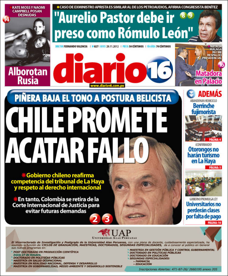 Portada de Diario16 (Perú)